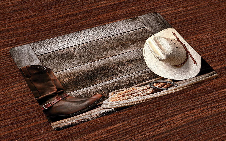 Esteras occidentales, sombrero de vaquero tradicional de paja de rodeo americano occidental Botas de cuero auténticas Estampado, manteles individuales de tela lavables para comedor Decoración de mesa
