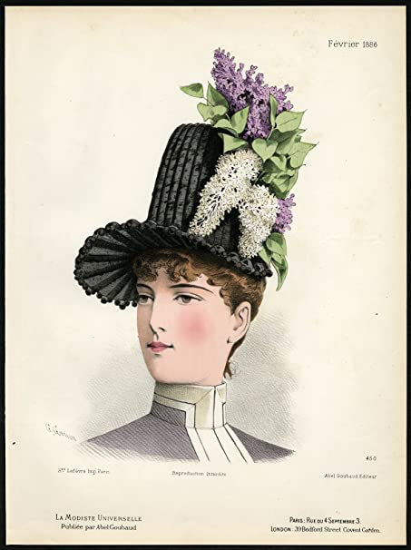 Antique Fashion Print-450-MILLINERY-19TH CENTURY-HAT-HEAD DRESS-Gonin-1886   Amazon.co.uk  Kitchen   Home af7cc9054af