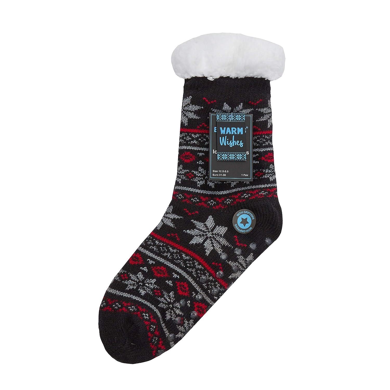 Street Essentials Boys Fairisle Fully Fleece Lined Winter Slipper Socks