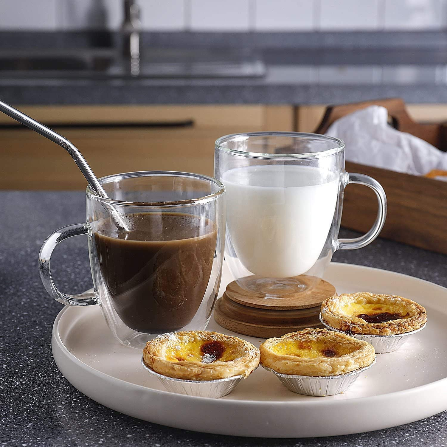 Set of 2 Espresso Double Wall Glass Coffee Cups 12 oz //350 ml Glass Coffee Mug with Handle Americano. Coffee Glasses Cups for Cappuccino Latte