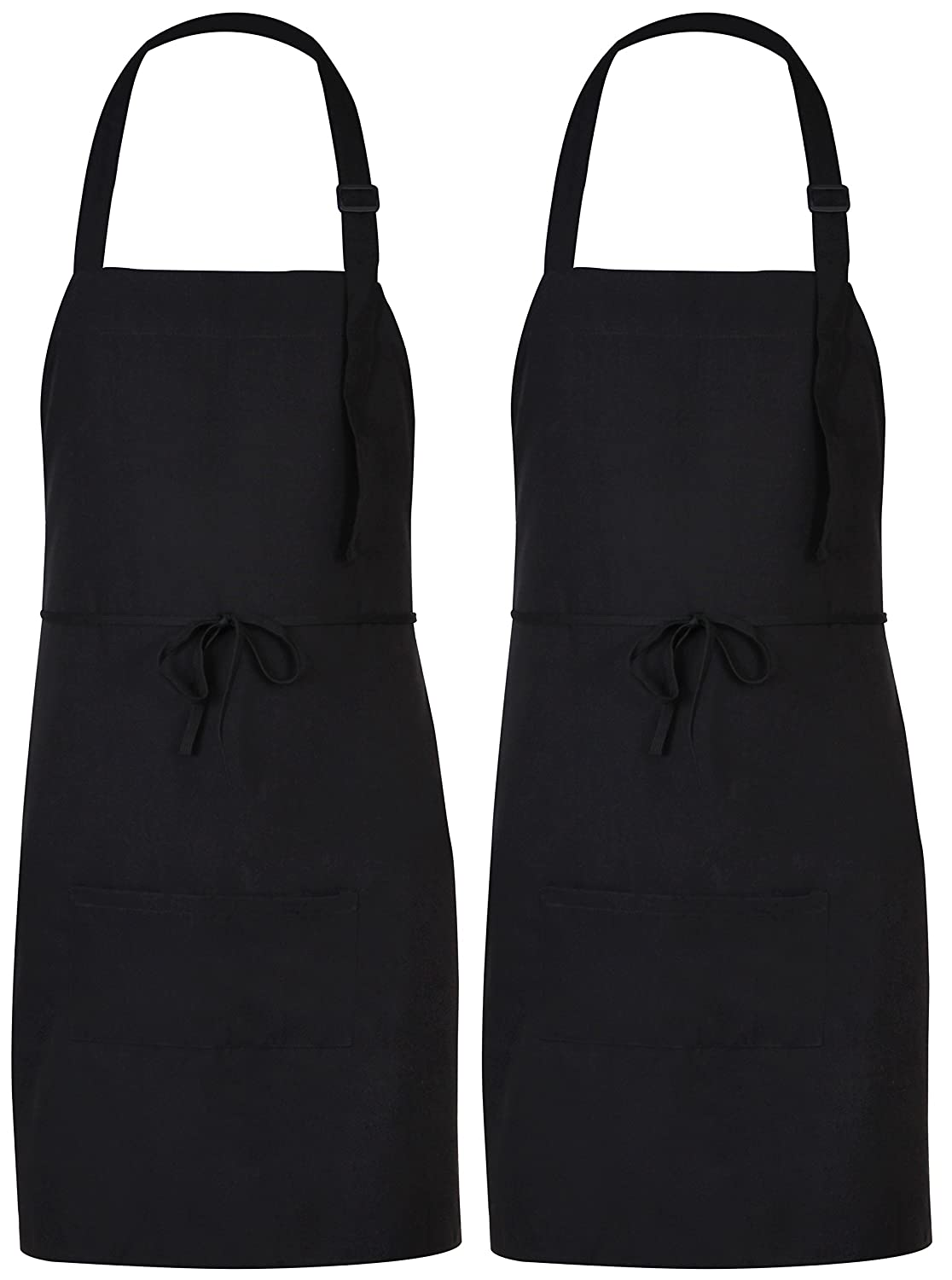 Utopia Adjustable Bib Apron with 2 Pockets - Cooking Kitchen Aprons for Women, Men, Chef - Black (2) Utopia Kitchen UK0381