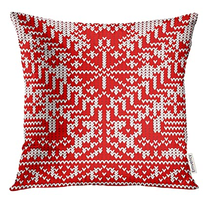 Amazon com: Golee Throw Pillow Cover Red Knitting The Tree