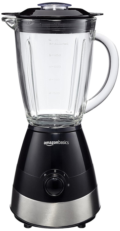 AmazonBasics - Batidora de vaso (550 W, 1,5 L, vaso de cristal), color negro