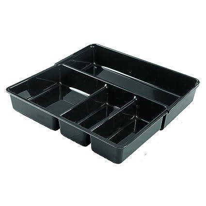InterDesign Linus Organizador de cajones, separador de cubiertos de plástico grande y con 4 divisiones, cubertero extensible, negro