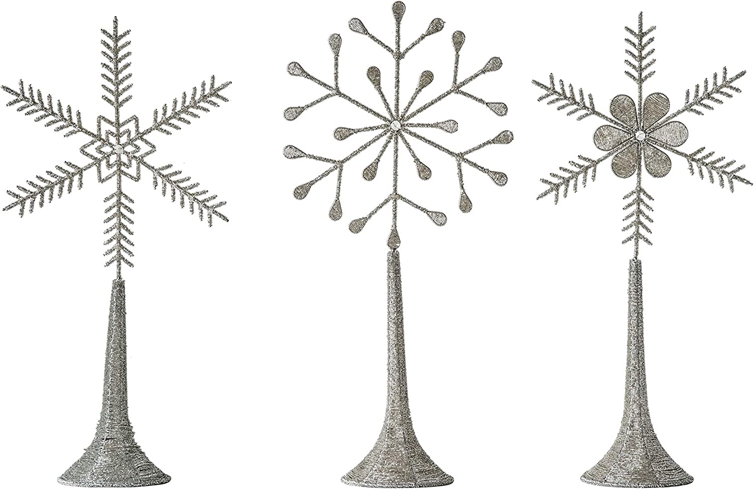 Creative Co-op Silver Metal & Glass Beaded Snowflake on Stand (Set of 3 Styles) Figures and Figurines