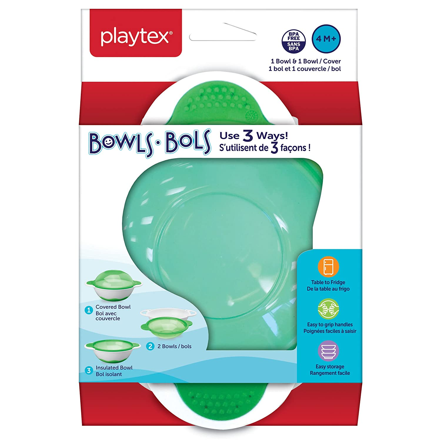 Includes Bowl /& Bowl Cover Playtex Baby BPA-Free 3-In-1 Bowl For Kids 4 Months