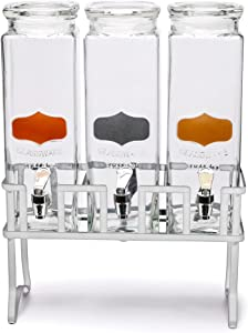 Circleware Triple Mason Jar Chalkboard Beverage Dispensers with White Metal Stand Fun Party Entertainment Glassware for Water, Iced Tea, Punch, Cold Drinks, 3-80 oz, Copper, Gold, Silver