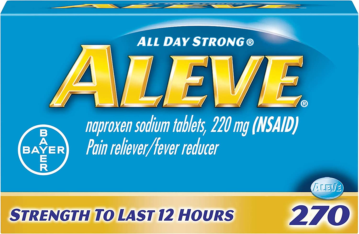 Aleve Tablets, Fast Acting All Day Pain Relief for Headaches, Muscle Aches, and Fever Reduction, Naproxen Sodium Capsules, 220 mg, 270 Count: Health & Personal Care