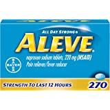 Aleve Tablets, Fast Acting All Day Pain Relief for Headaches, Muscle Aches, and Fever Reduction, Naproxen Sodium Capsules, 22