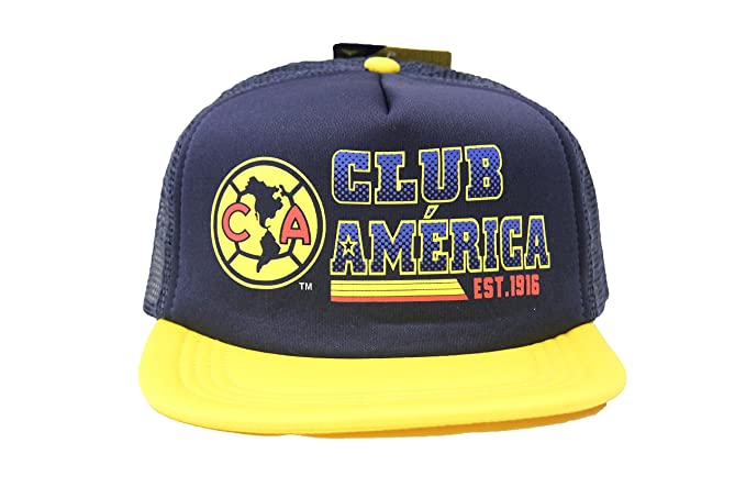 c9e619166ddbde Club America Flat Brim Hat Cap Trucker Style C5A03 (Navy Blue) at ...