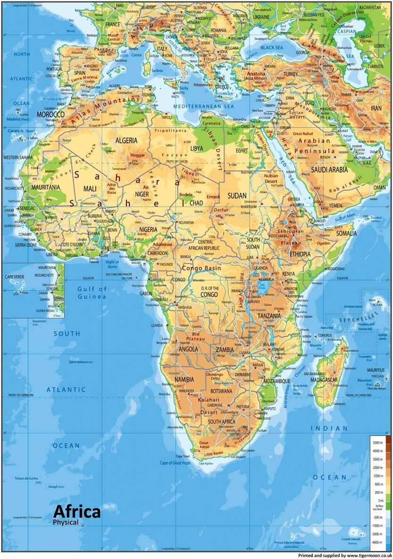 África Física mapa – Vinilo – A0 tamaño 84,1 x 118.9 cm: Amazon.es: Oficina y papelería