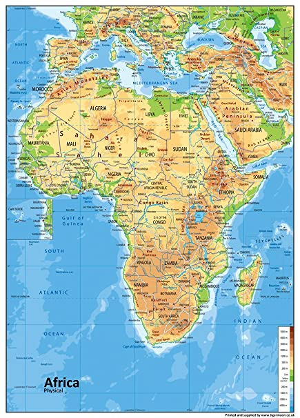 Africa Physical Maps.Africa Physical Map Paper Laminated A0 Size 84 1 X 118 9