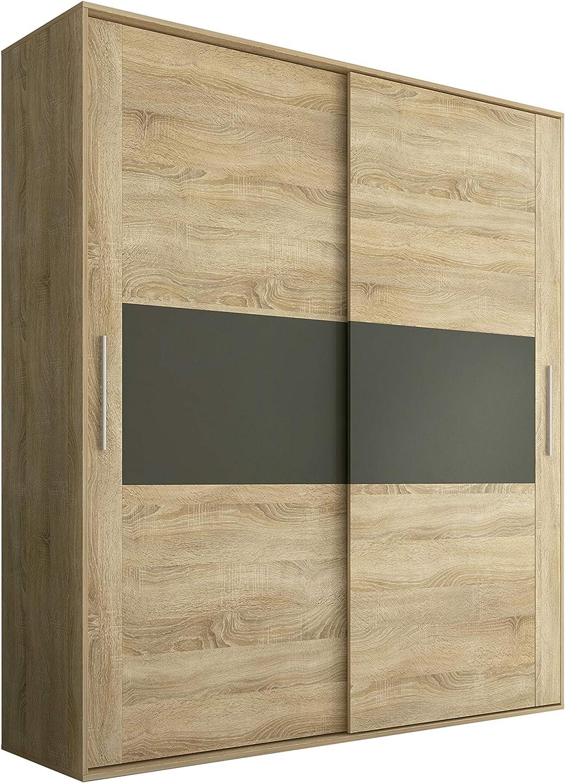 HomeSouth - Armario 2 Puertas Correderas para Dormitorio y Habitación, Modelo Priego Acabado en Color Cambria y Grafito, Medidas: 180 cm (Largo) x 207,6 cm (Alto) x 55 cm (Fondo)