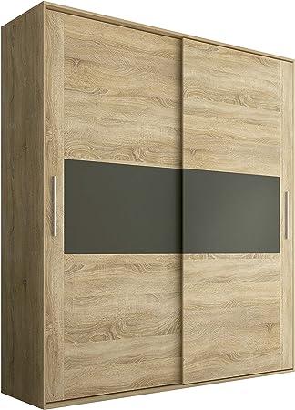 HomeSouth - Armario 2 Puertas Correderas para Dormitorio y Habitación, Modelo Priego Acabado en Color Cambria y Grafito, Medidas: 180 cm (Largo) x 207,6 cm (Alto) x 55 cm (Fondo): Amazon.es: Hogar