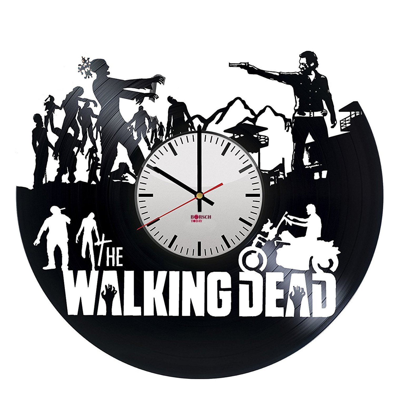 The Walking Dead Handmade Wall Clock Made From Used Vinyl Record - Get unique bedroom or kitchen wall decor - Gift ideas for boys and men – Horror Zombie Movie Unique Art Design