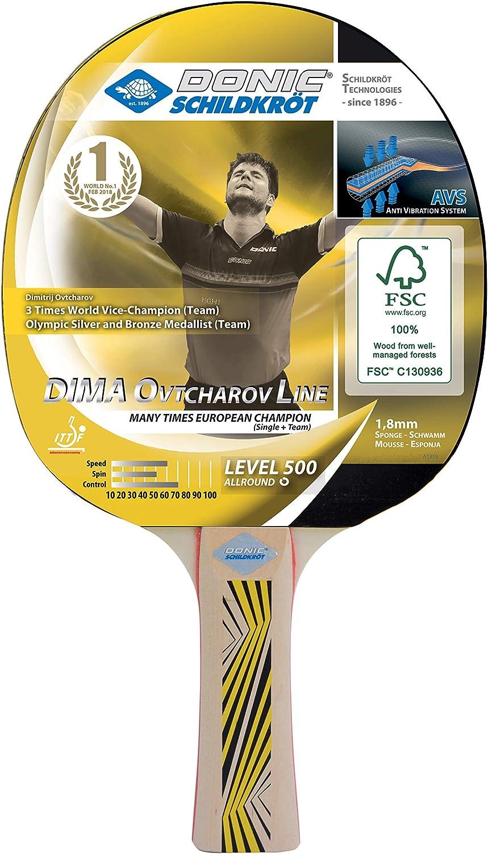 Donic-Schildkröt Raqueta de Tenis de Mesa Ovtcharov 500, Mango Acolchado AVS, Esponja de 1,8 mm, Madera de FSC, Almohadilla Elite-ITTF, 714405, Unisex Adulto