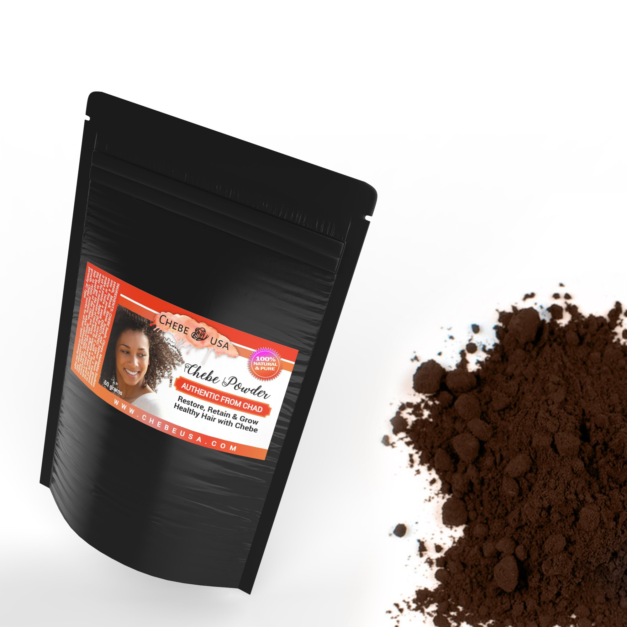 Chebe, Shebe Powder, Chebe Powder Chebe Mix From Chad – Strengthen Natural Hair Growth. Africa's Best Kept Secret - 50 grams by Uhuru Naturals