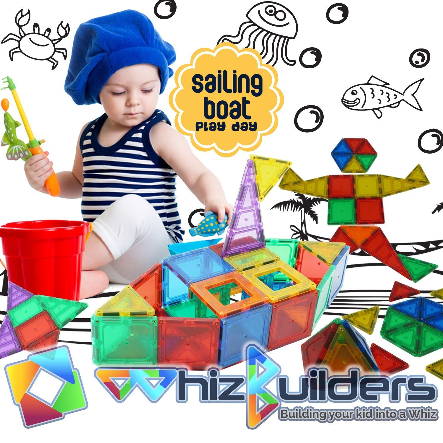 Magnetic Building Tiles Toys Set - Tiles Block Toy Kit for Kids - STEM Educational Construction Stacking Shapes - 60 Pieces by WhizBuilders (Image #4)