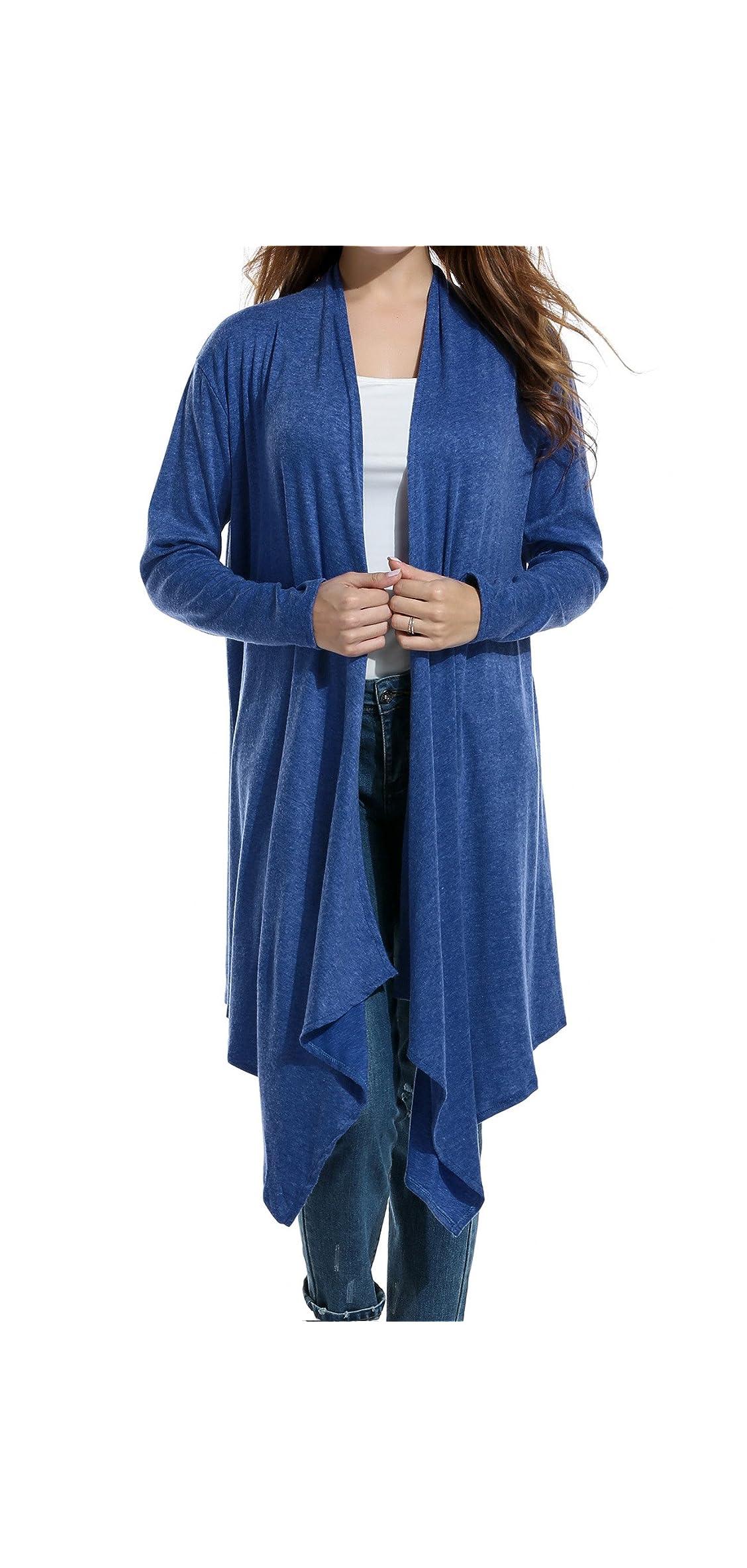 Womens Long Sleeve Open Front Long Cardigan Waterfall Asymmetric