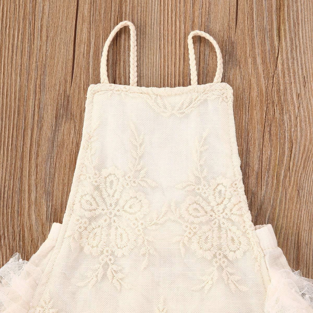 Newborn Infant Baby Girls Ruffle Sleeve Romper Bodysuit Lace Tutu Dress Jumpsuit Outfits Clothes