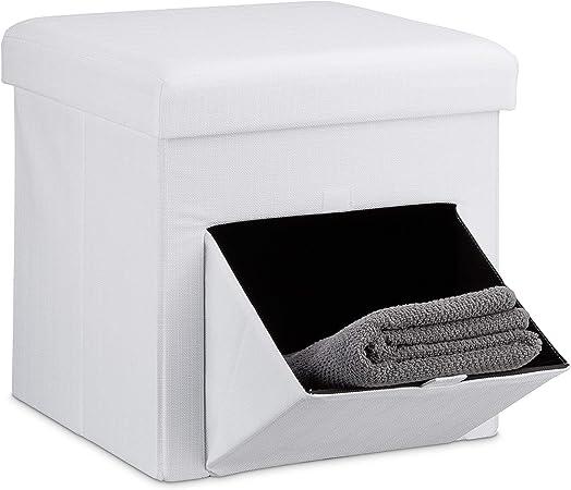 Portaoggetti 40 L HLP: 39 x 38 x 38 cm Bianco Relaxdays Contenitore Pouf a Cubo Puffo Quadrato Imbottito Sgabello
