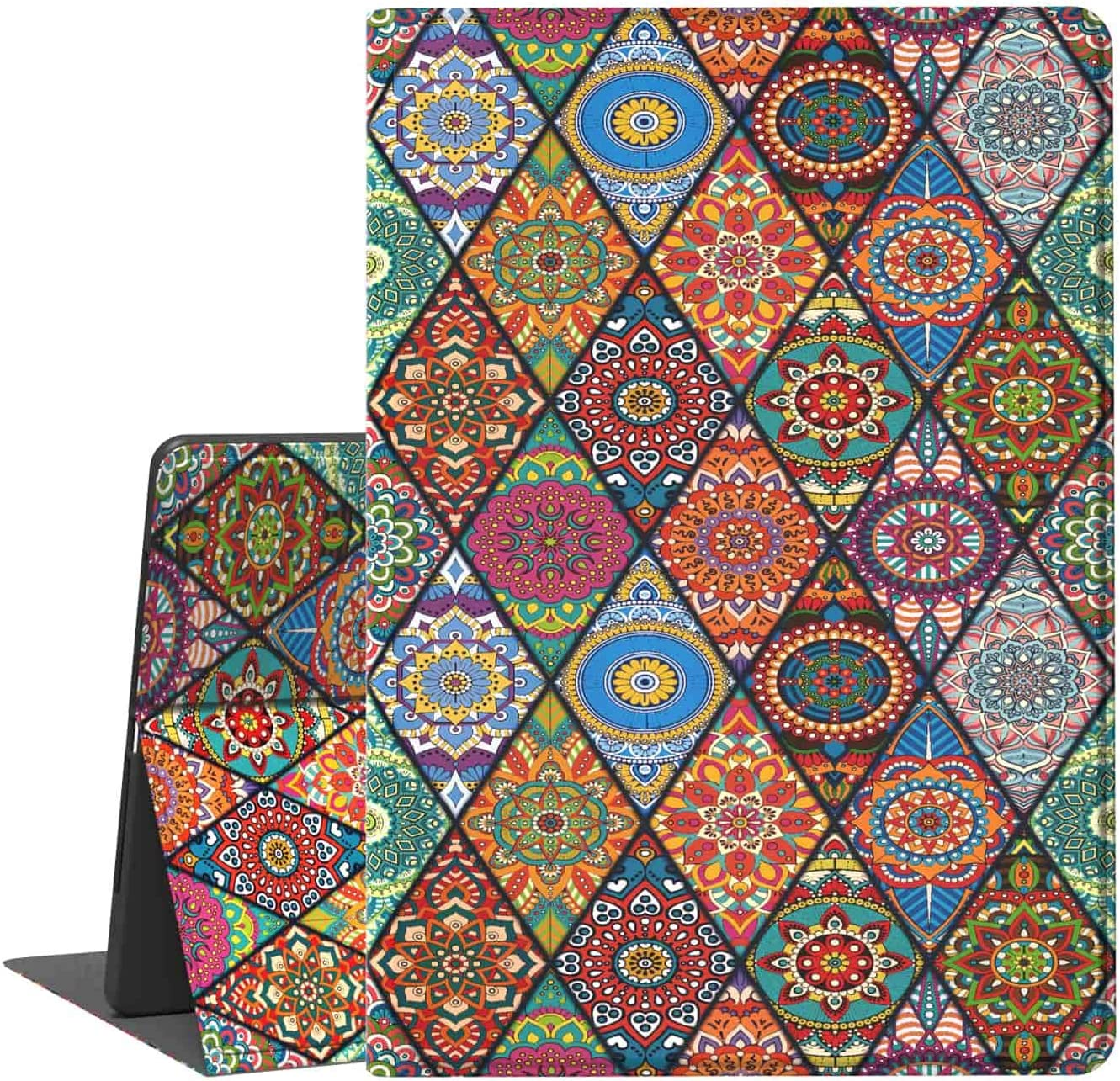 iPad 5th/6th Generation Case, iPad Air 1/2 Case, Feams Slim Lightweight PU Leather Case with Smart Auto Sleep Flip Stand Cover for iPad 9.7 inch 2017/2018, Mandala