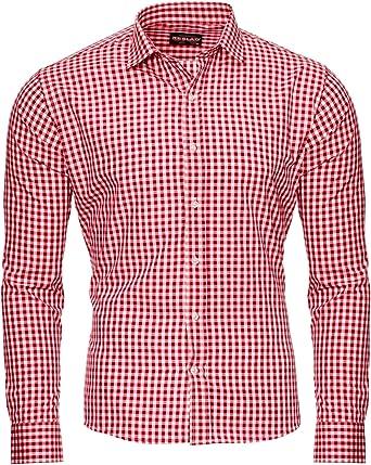 Reslad Camisa de cuadros entallada para hombre RS-7007: Amazon.es: Ropa y accesorios