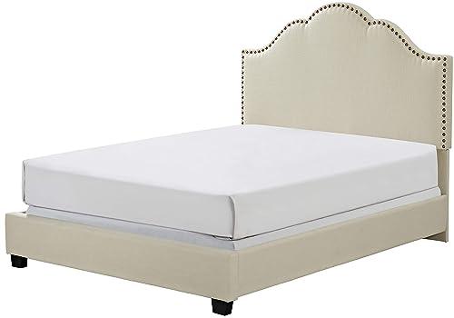 Crosley Furniture Preston Upholstered Platform Bed and Camelback Headboard