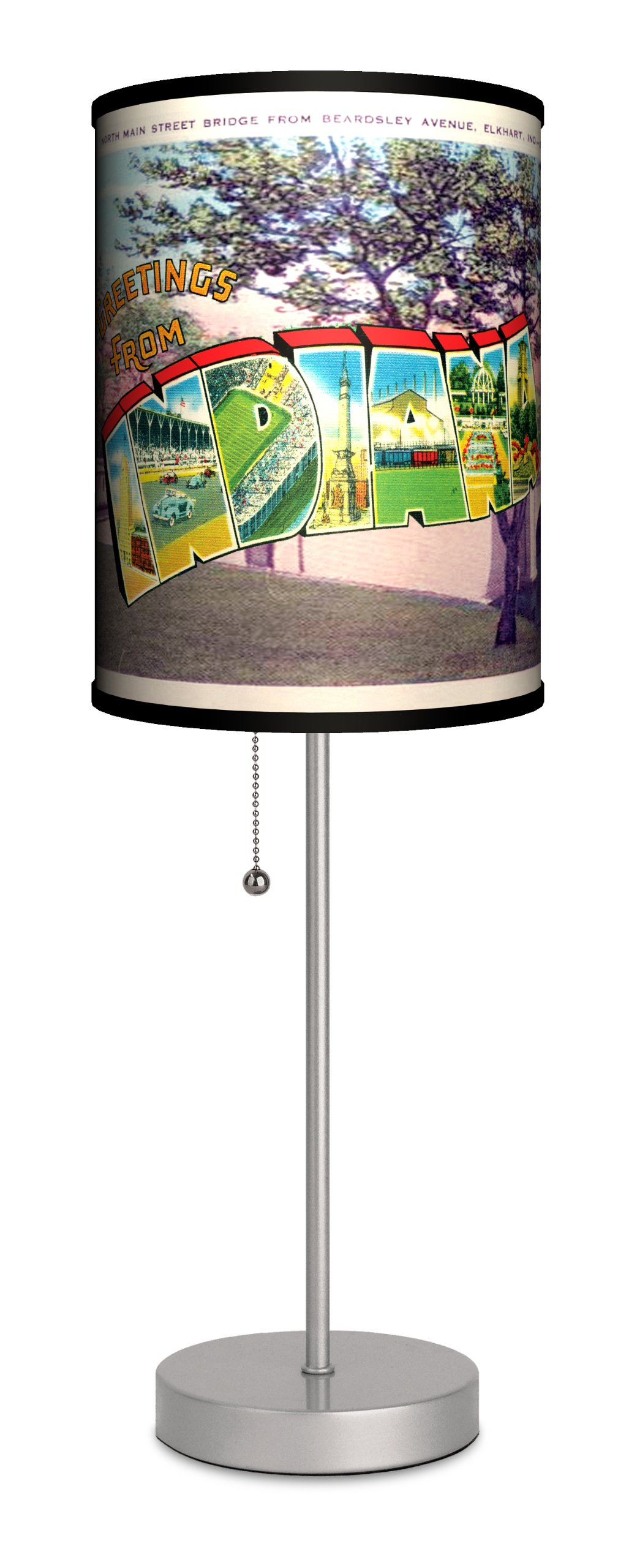 Travel - Indiana Postcard Sport Silver Lamp by Lamp-In-A-Box (Image #1)