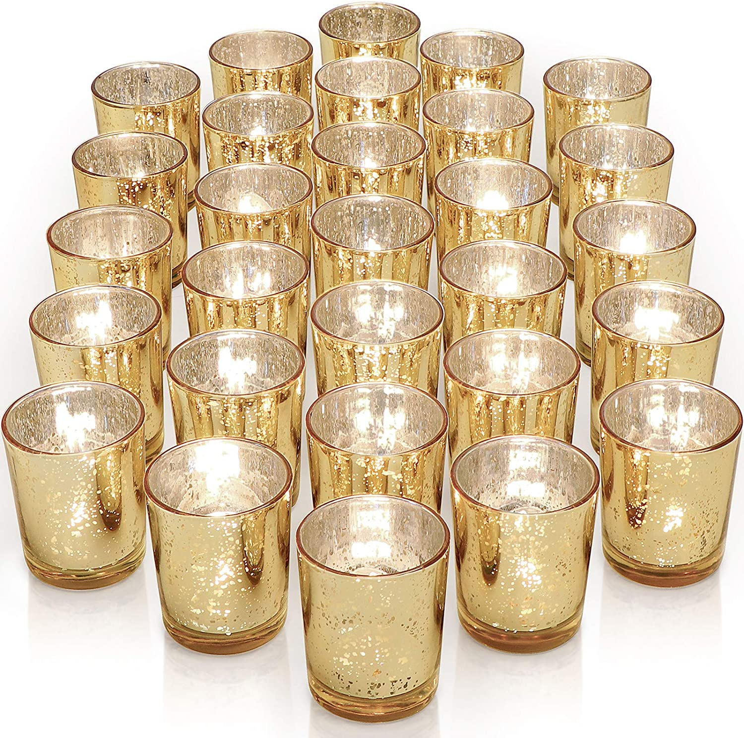 Amazon Com Letine Gold Votive Candle Holders Set Of 36 Speckled Mercury Gold Glass Candle Holder Bulk Ideal For Wedding Centerpieces Home Decor Kitchen Dining