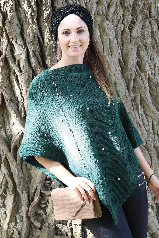 styleBREAKER Poncho da Donna in Maglia fine con Applicazione di Perle Girocollo 08010056