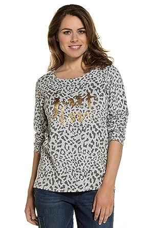 478fa7c0815e9e GINA LAURA Damen bis Größe 3XL | Pullover | Sweatshirt mit Animal-Print |  Leoparden-Muster | Goldener Schriftzug | grau, weiß, gold 712748: GINA  LAURA: ...