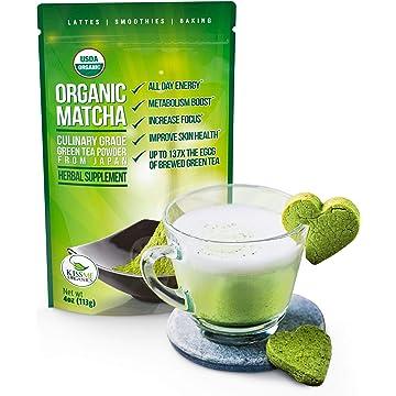 Kiss Me Organics Matcha Green Tea Powder - Organic Japanese Culinary Grade Matcha - 4 ounces