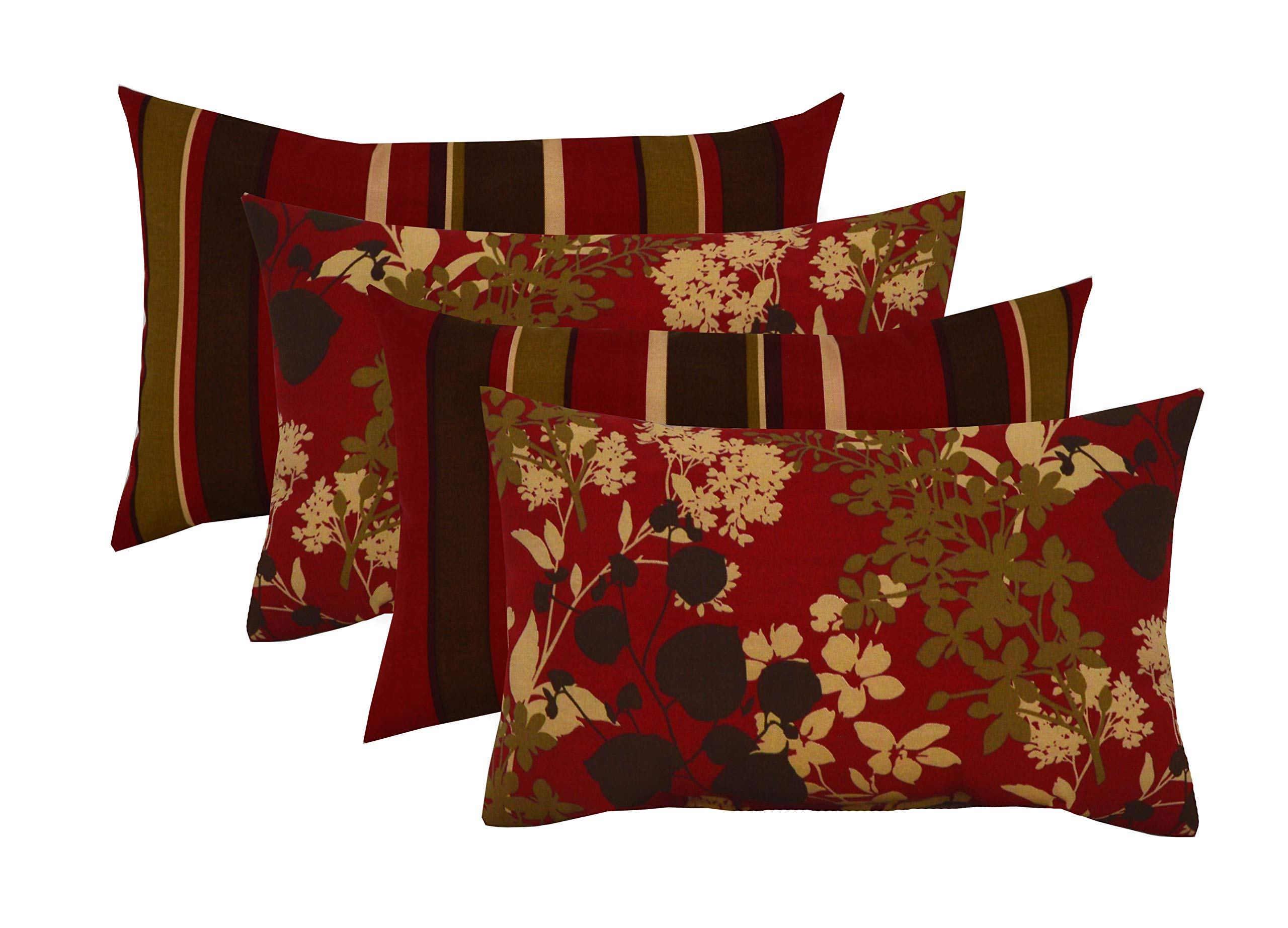 RSH Décor Set of 4 Indoor/Outdoor Lumbar Rectangular Throw Pillows (12''x21'') (Sangria Floral Stripe)