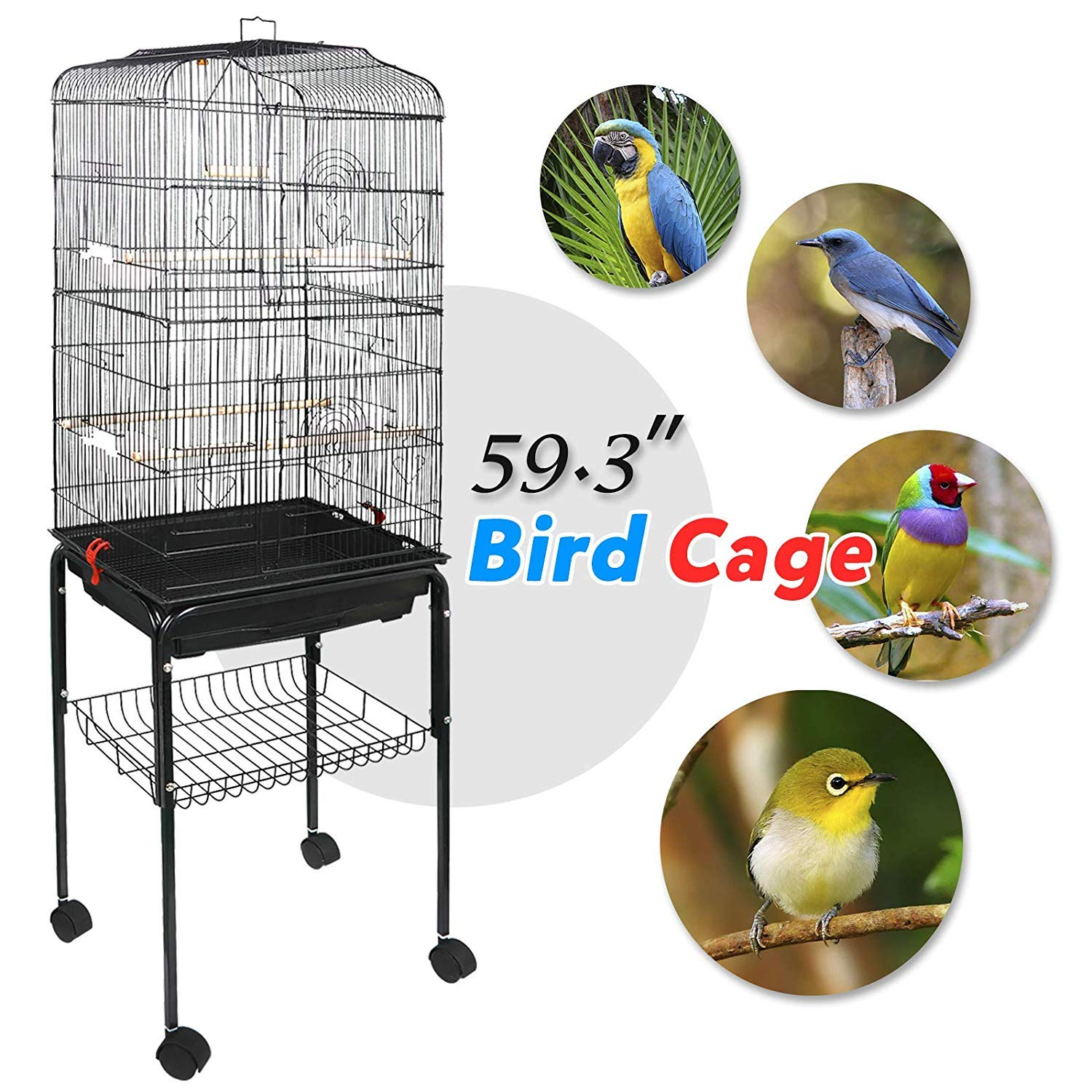 Nova Microdermabrasion 59.3'' Rolling Metal Bird Cage Medium Birdcage with Stand for Cockatiel Sun Conure Parakeet Finch Budgie Lovebird Canary Pet Bird Cage by Nova Microdermabrasion