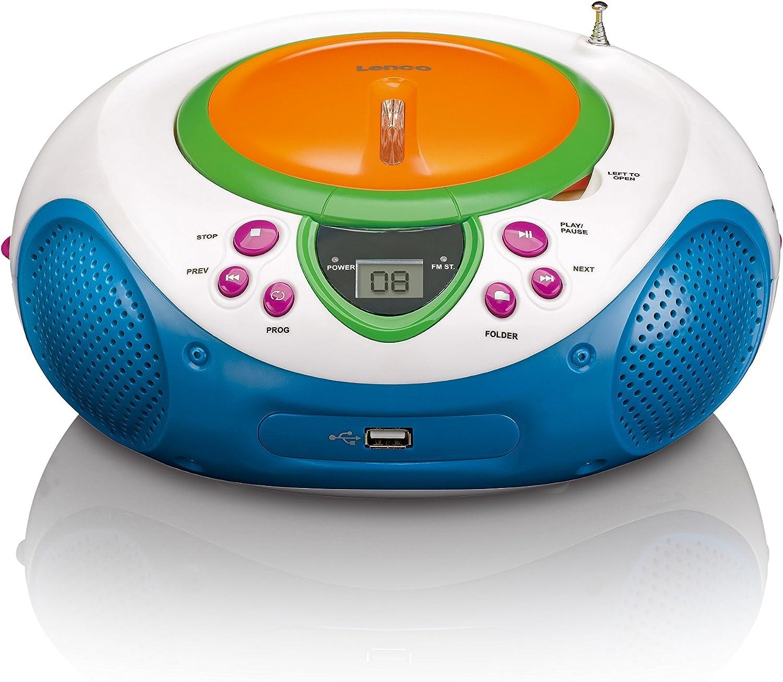 Lenco Kinder Cd Player Scd 40 Usb Kids Cd Mp3 Player Ukw Radio Lcd Display Wiederholungsfunktion Aux Eingang Usb Audio Hifi