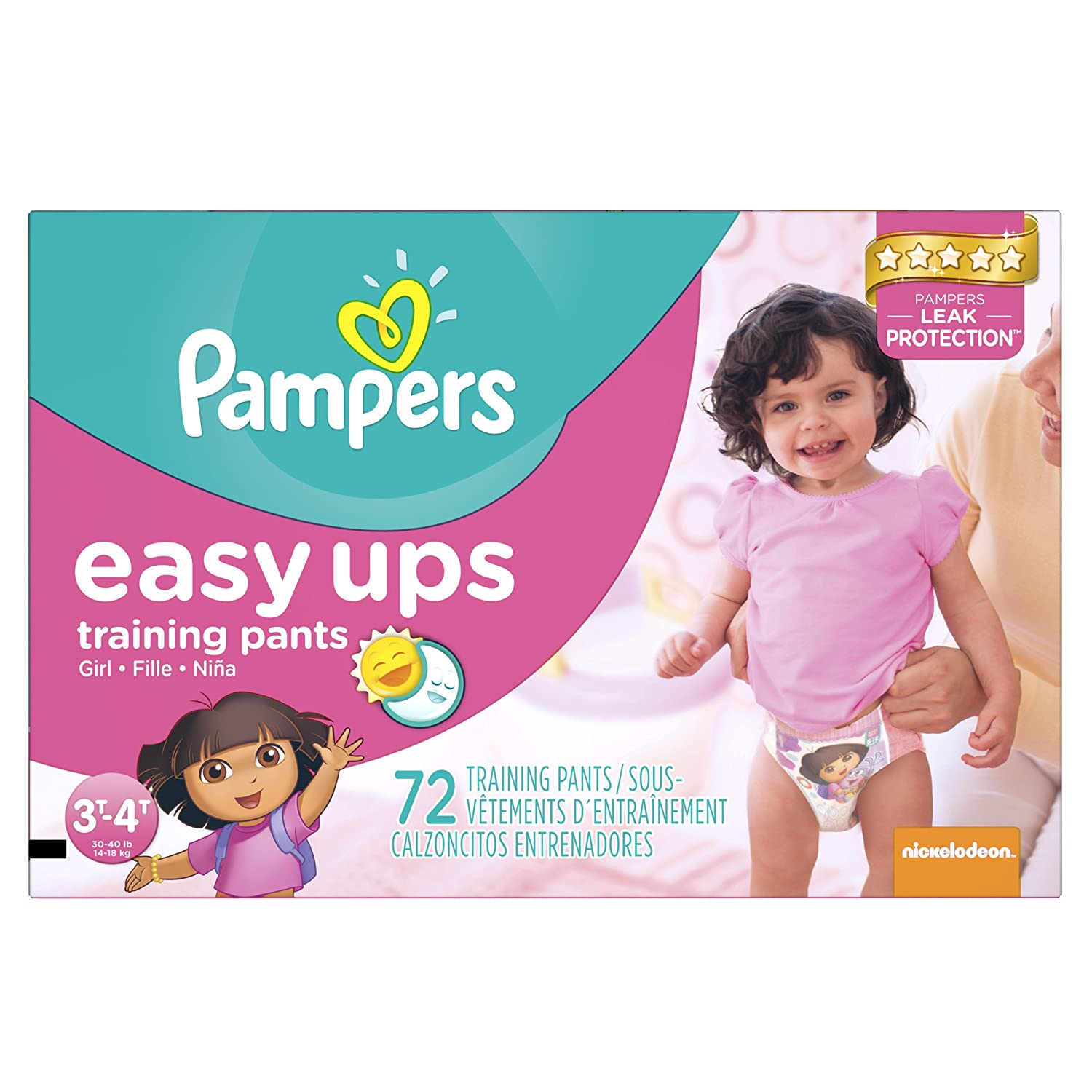Pampers Easy Ups Girls Trainers Super Pack Size 2T/3T, 80 Count 37000827498
