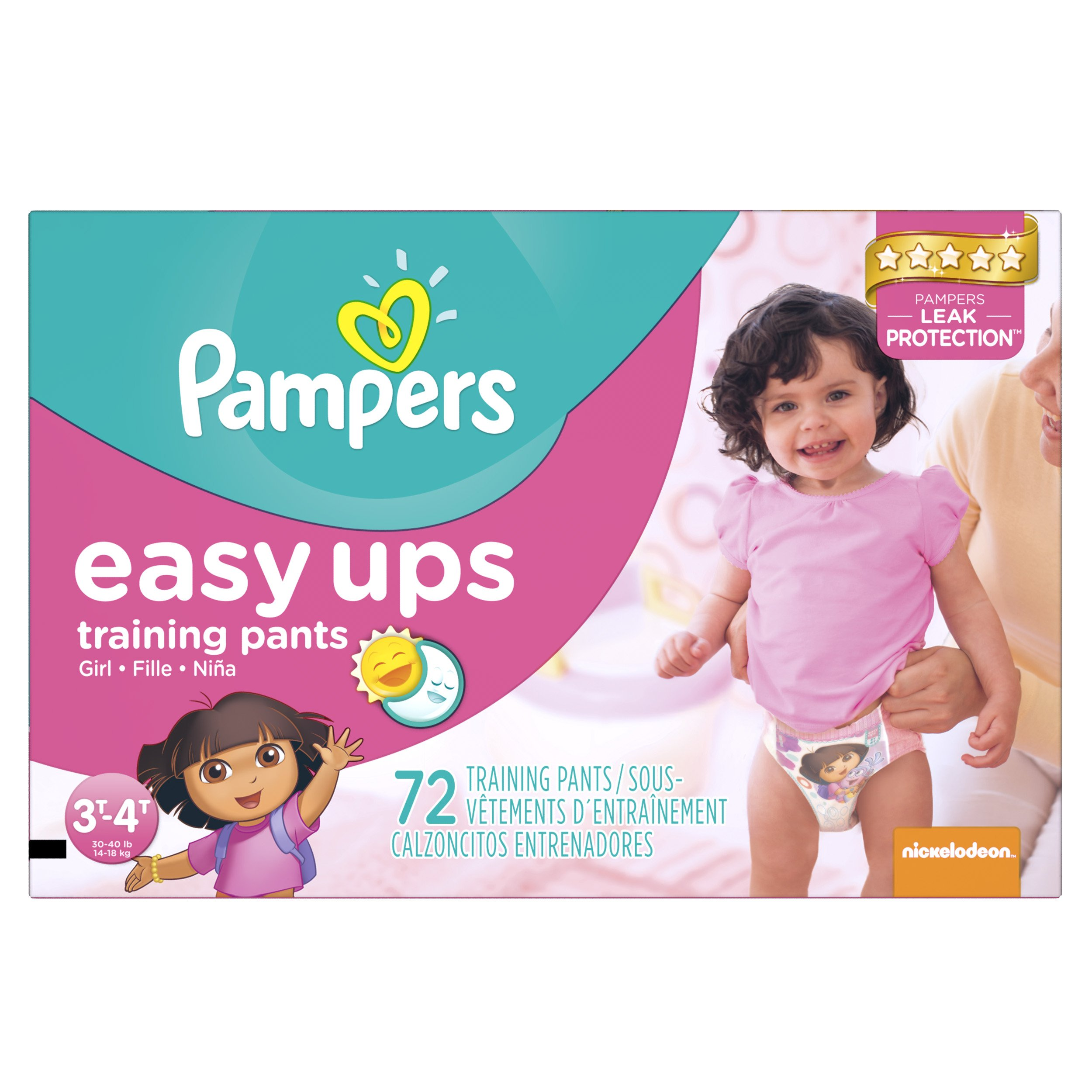 Pampers Girls Easy Ups Training Underwear 3T-4T (Size 5), 72 Count (Old Version)