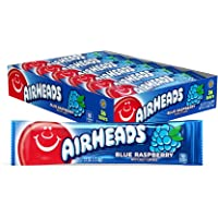 Airheads Candy, Individually Wrapped Full Size Bars, Blue Raspberry, Bulk Taffy, Non Melting, Party, 0.55 oz (Pack of 36)