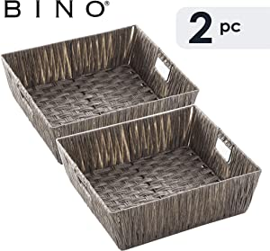 BINO 2 Pack Woven Resin Basket Organizer - Shelf Organizer with Built-in Carry Handles, Large - Dark Grey