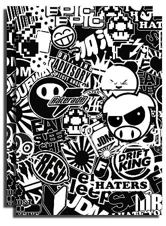 X2 Two Individual JDM Sticker Bomb Wrap Sheets Black White Only Style