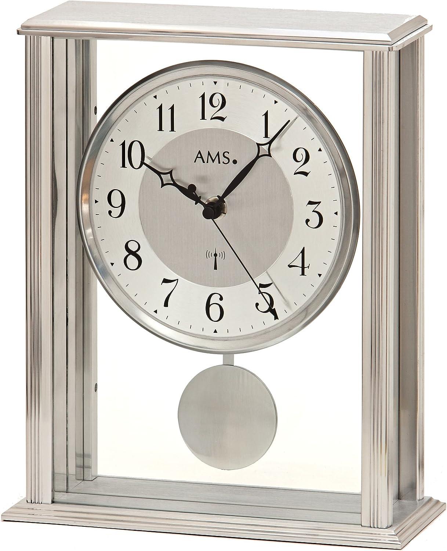 AMS Reloj de mesa moderno con mecanismo de radio, funciona con pilas, estilo moderno, 25 cm, 5190