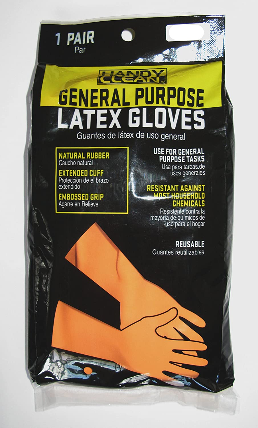 Red Steer 707-S Handy Clean Heavy Duty General Purpose Latex Gloves, Orange (Set of 2 Pairs) (Small) - - Amazon.com