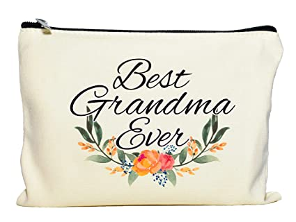 Moonwake Designs- Best Grandma Ever Makeup Bag, Gift for Grandma, Mother's Day Gift, Cosmetic Bag for Nana, Floral Bag, Travel Makeup Pouch best gifts for grandmas