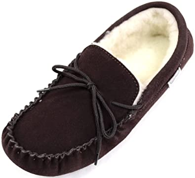 Mens Dark Brown Suede Moccasin Slippers with Wool Lining and Hard Sole