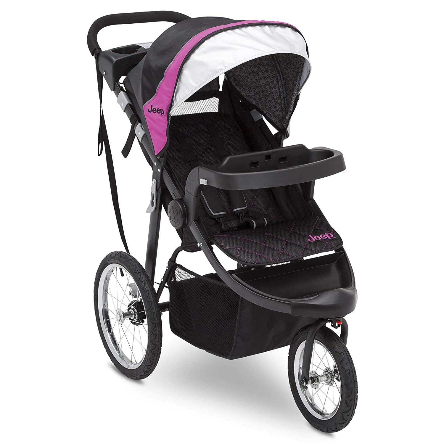Jeep Deluxe Patriot Open Trails Jogger by Delta Children, Berry Tracks