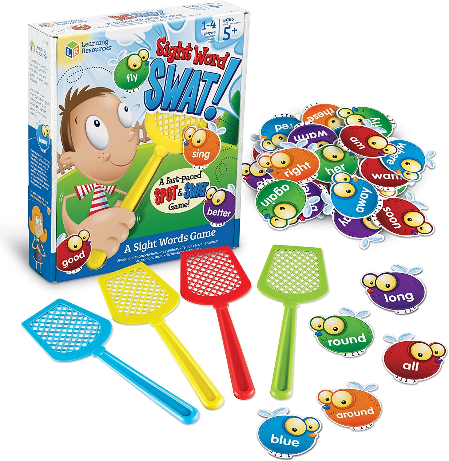 Learning Resources Sight Word Swat a Sight Word Game, Home School, Visual, Tactile and Auditory Learning, Phonics Games, 114 Pieces, Ages 5+: Toys & Games