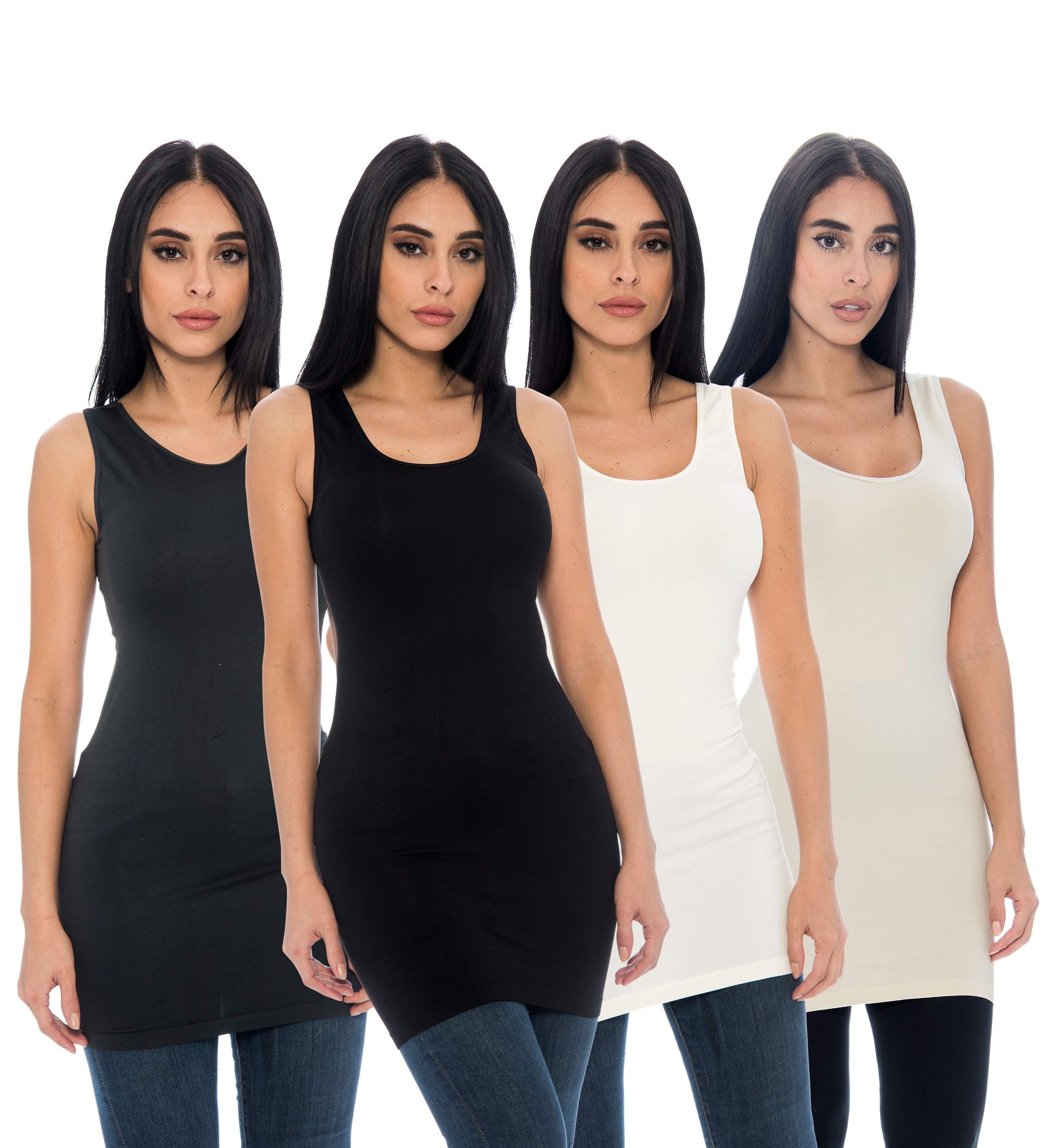 Unique Styles Seamless Long Tank Top Stretch Camisole Layering Top Regular Plus Size Pack of 4