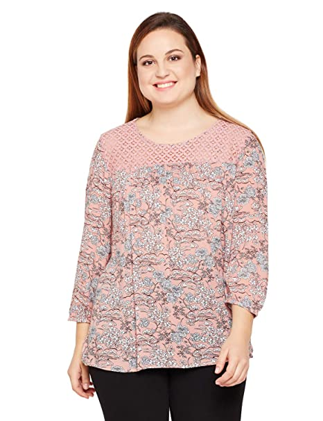 2dbf9975d20 oxolloxo Plus Size Women Round Neck Dusty Pink Printed Top 3 4th Sleeves   Amazon.in  Clothing   Accessories