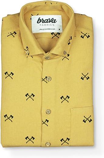 Brava Fabrics - Camisa Hombre Manga Larga Estampada - Camisa Amarilla para Hombre - Camisa Casual Regular Fit - 100% Algodón - Modelo Viking Axe - Talla XXL: Amazon.es: Ropa y accesorios